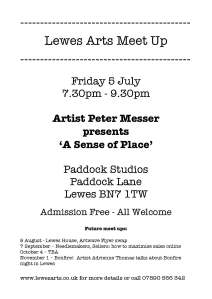 Lewes Arts Meet Up 5 July 2013